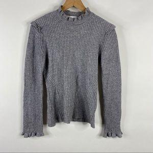Derek Lam 10 Crosby Sweater Rib Ruffle Mock Neck